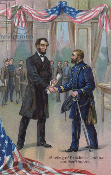 Meeting of President Abraham Lincoln and General Ulysses S Grant (colour litho)