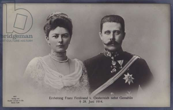Sophie, Duchess of Hohenberg, and her husband Archduke Franz Ferdinand of Austria, both assassinated in Sarajevo on 28 June 1914 (b/w photo)