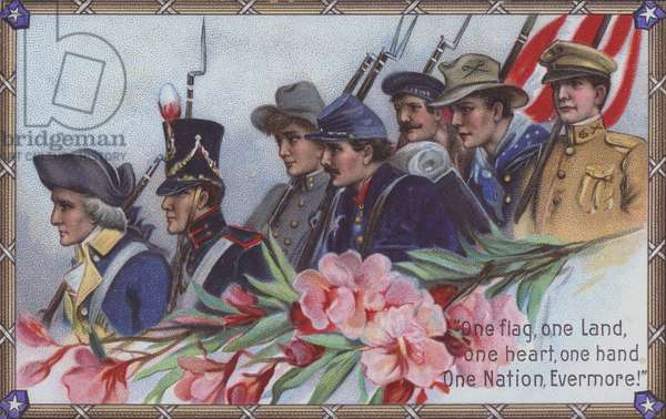 """Memorial Day card: """"One flag, one Land, one heart, one hand, One Nation, Evermore!"""" (colour litho)"""