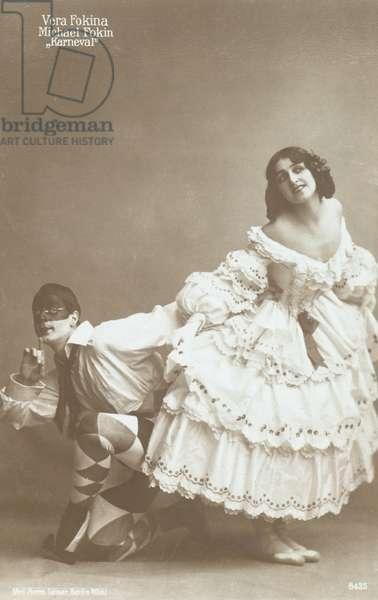 Michel Fokine and Vera Fokina in Carnaval (b/w photo)