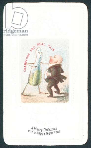 Angry Champagne Bottle punching man, Christmas Card (chromolitho)