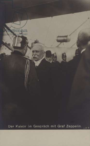 Kaiser Wilhelm II of Germany in conversation with airship constructor Graf Ferdinand von Zeppelin (b/w photo)