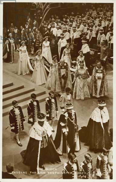 Coronation of Queen Elizabeth II, Westminster Abbey, London, 1953 (b/w photo)