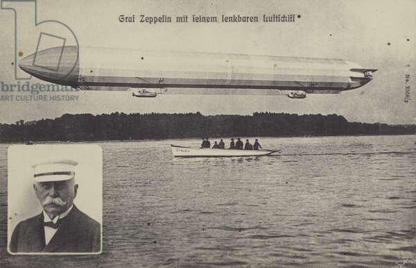 Graf Ferdinand von Zeppelin and one of his his airships (b/w photo)