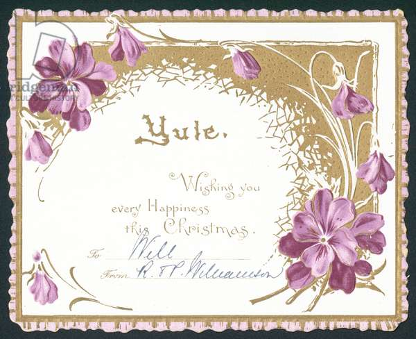 Yule, violet flowers, Christmas Card (chromolitho)