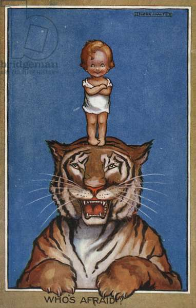 Baby standing on head of tiger (colour litho)