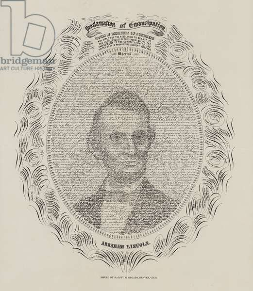 Abraham Lincoln and the proclamation of the emancipation of slaves in the United States (litho)