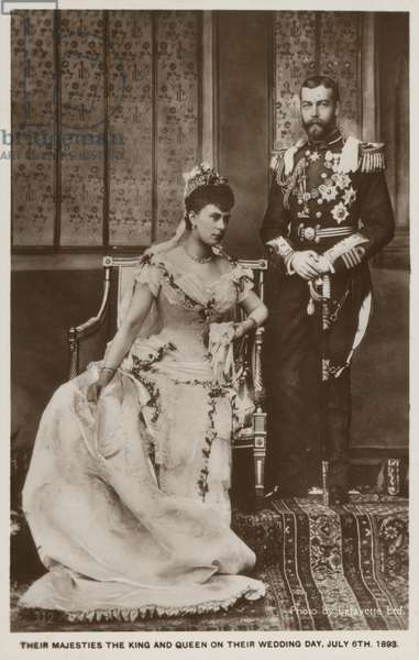 The wedding of Prince George, Duke of York (later King George V), and Princess Mary of Teck (later Queen Mary) (b/w photo)