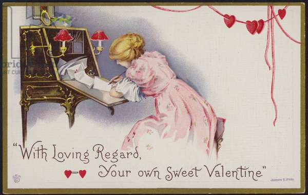 Valentine card, with hearts (colour litho)