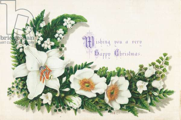 Wild Roses and Lily Of The Valley, Christmas Card (chromolitho)