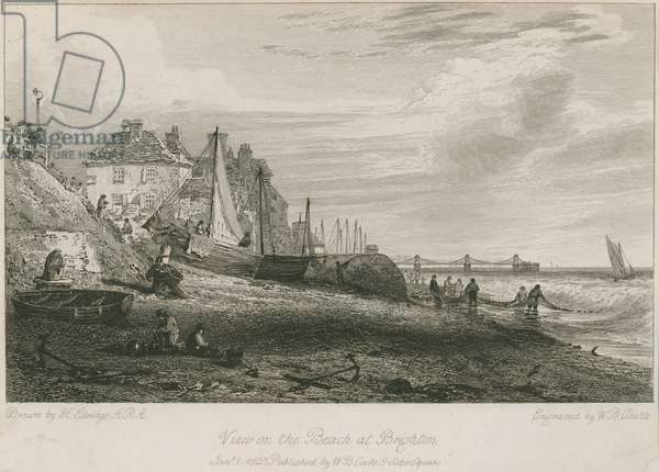 View of the beach at Brighton (engraving)