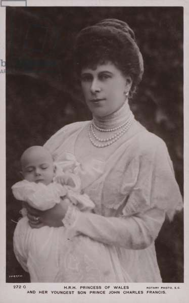 Princess Of Wales, with her youngest son, Prince John Charles Francis (b/w photo)