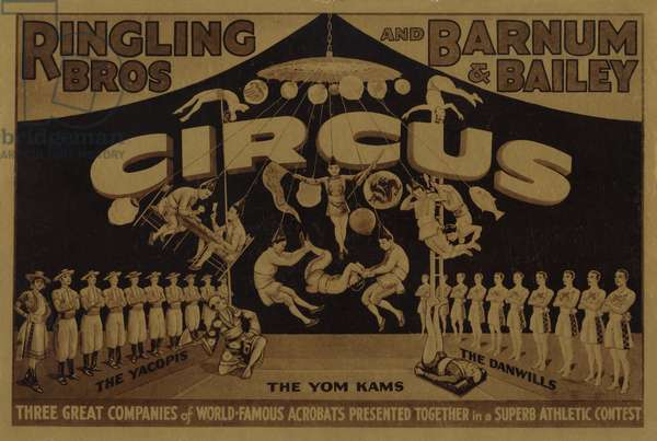 Ringling Bros and Barnum and Bailey Circus, with world famous acrobats (colour litho)