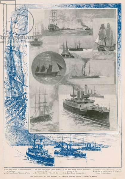 The Royal Navy in the Victorian era: the evolution of the battleship during the Queen's reign (photogravure)