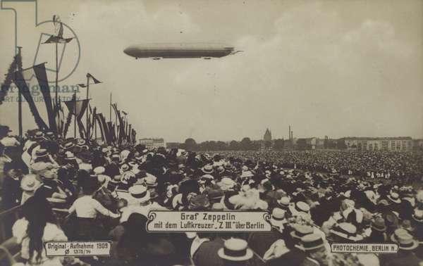 Zeppelin LZ III flying over Berlin, 1909 (b/w photo)