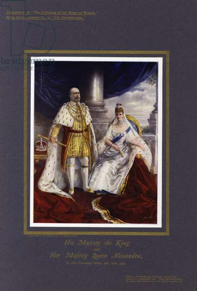 King Edward VII and Queen Alexandra in their coronation robes, 26 June 1902 (colour litho)