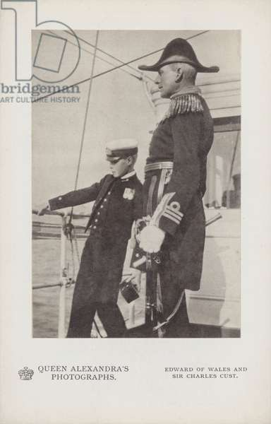 Prince Edward of Wales and Sir Charles Cust, 3 August 1907 (b/w photo)