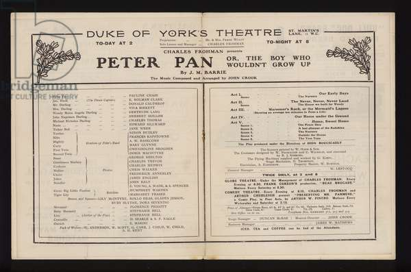 Theatre programme for a performance of Peter Pan, by J M Barrie, at the Duke of York's Theatre, London, 1904 (litho)