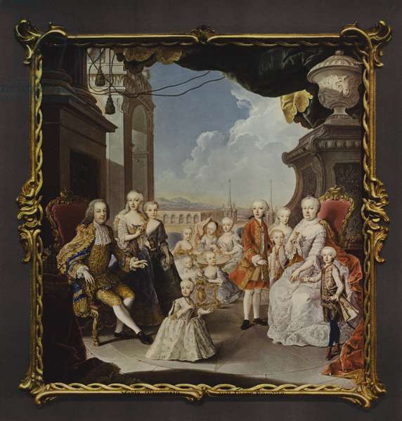 The Empress Maria Theresa and her family on the terrace of the Schonbrunn Palace (colour litho)