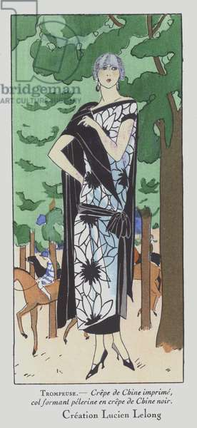 A day at the races - women's fashion of the 1920s by designer Lucien Lelong (colour litho)