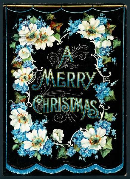 Garland of Flowers, Christmas Card (chromolitho)