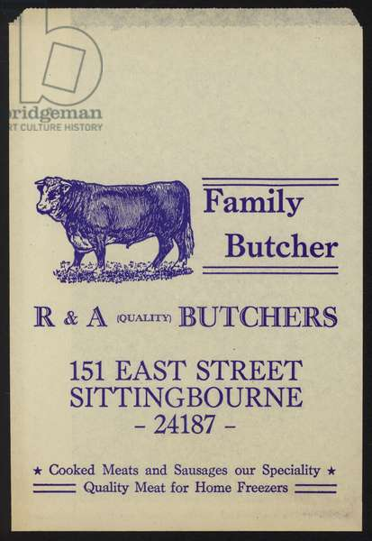 Advertisement for R & A Butchers (colour litho)