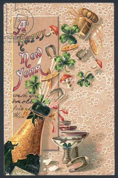 New Year greetings card (colour litho)
