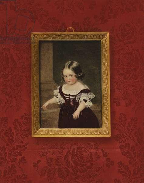 Portrait of Queen Victoria as a child (colour litho)