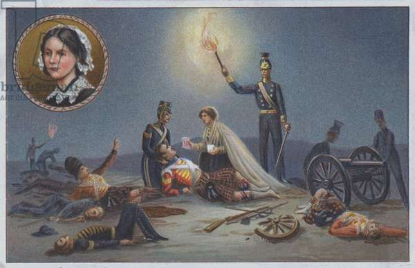 Florence Nightingale assisting the wounded and dying on the battlefield during the Crimean War, 1853-1856 (chromolitho)