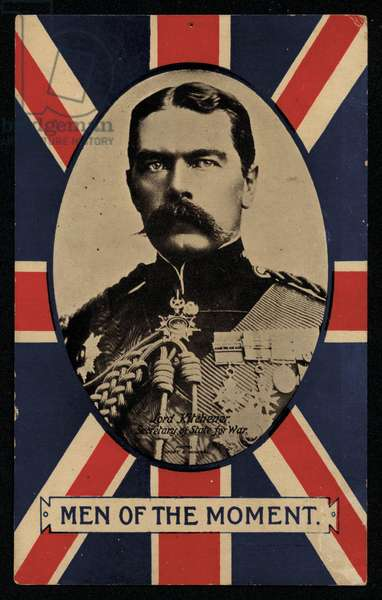 Herbert Kitchener, 1st Earl Kitchener, British Field Marshal and Secretary of State for War, 1914-1916 (colour litho)