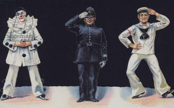Pierrot, policeman and sailor (colour litho)