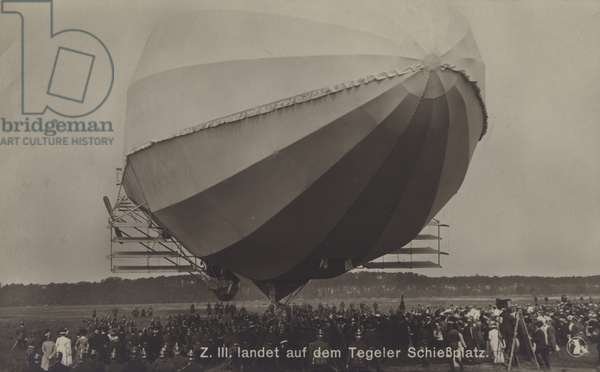 Zeppelin LZ III after landing on the Tegel firing range, Berlin (b/w photo)