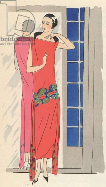 Women's fashion by Gustave Beer, 1920s (colour litho)