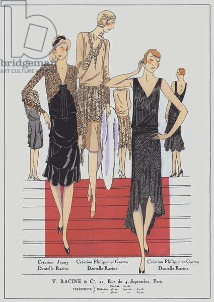 Women's evening wear from the 1920s by designers Jenny and Philippe et Gaston (colour litho)