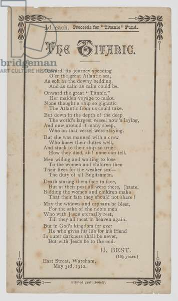 The Titanic, poem by H Best, aged 13 1/2 (litho)
