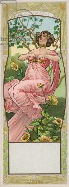 Woman in a garden, bookmark (colour litho)