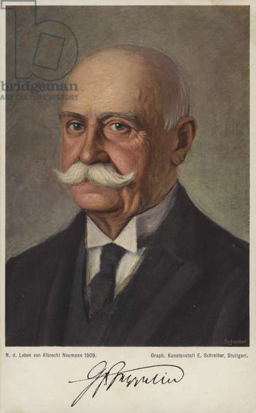 Graf Ferdinand von Zeppelin, German airship designer and constructor (colour litho)