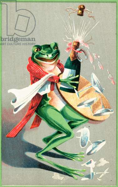A frog carrying a tray with a glasses and a champagne bottle (colour litho)