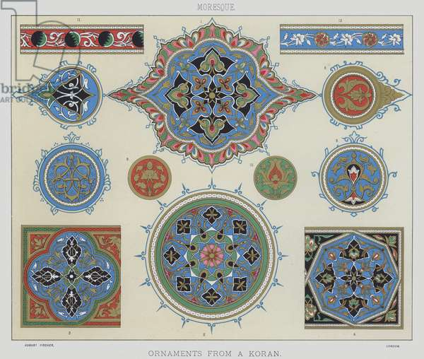 Moresque, Ornaments from a koran (colour litho)