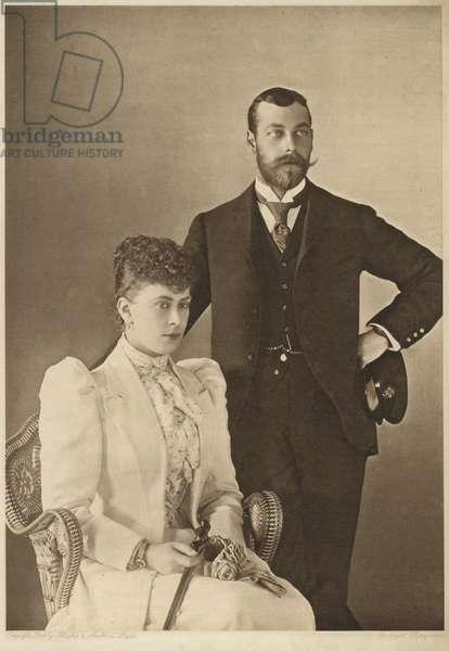 George, Duke of York, and his wife, Princess Mary of Teck (b/w photo)