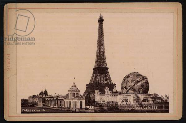Eiffel Tower and Globe Celeste, Exposition Universelle 1900, Paris, France (b/w photo)