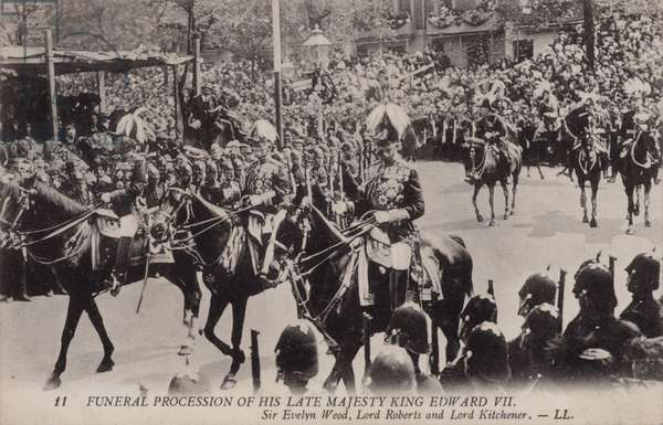 Field Marshals Sir Evelyn Wood, Lord Roberts and Lord Kitchener, funeral procession of King Edward VII, London, 1910 (b/w photo)