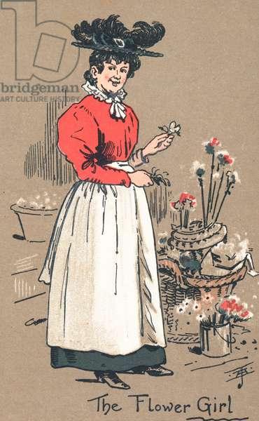 The Flower Girl (colour litho)