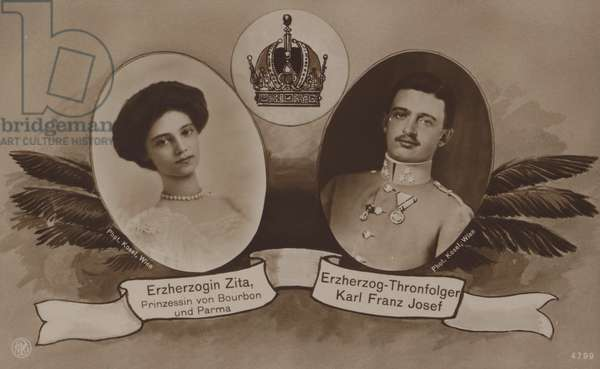 Archduchess Zita of Bourbon and Parma with her husband, Archduke Charles of Austria, later the last Emperor of Austria as Charles I (b/w photo)