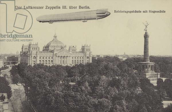 Zeppelin LZ III flying over Berlin (b/w photo)