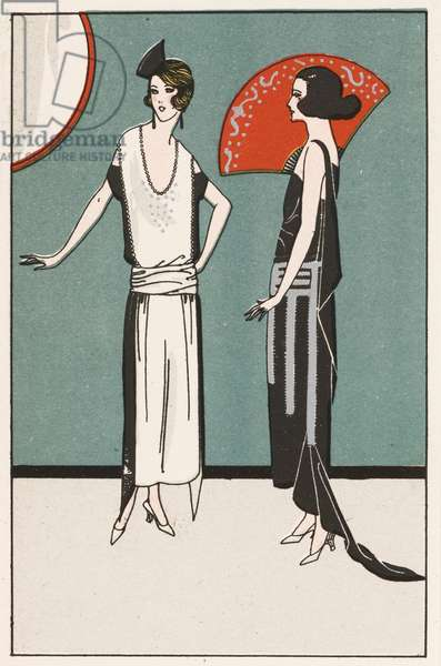 Evening wear for women by designers Madeleine and Madeleine, 1920s (colour litho)