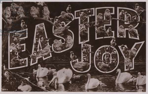 EASTER JOY, with surreal lettering (b/w photo)