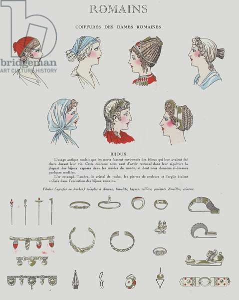 1920s depiction of hairstyles and jewellery from the Roman period (colour litho)