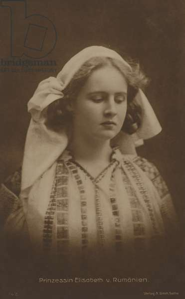 Princess Elisabeth of Romania, future Queen Consort of King George II of Greece (b/w photo)