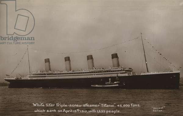 White Star Line steamer Titanic (b/w photo)
